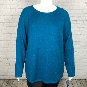 Teal Curved Hem Scoop Neck Sweater Plus Size 2X